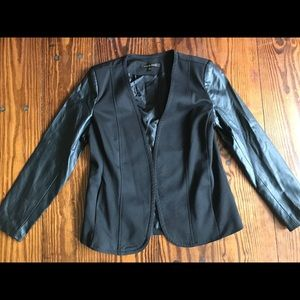 Cynthia Steffe Black Faux Leather Sleeve Blazer- S